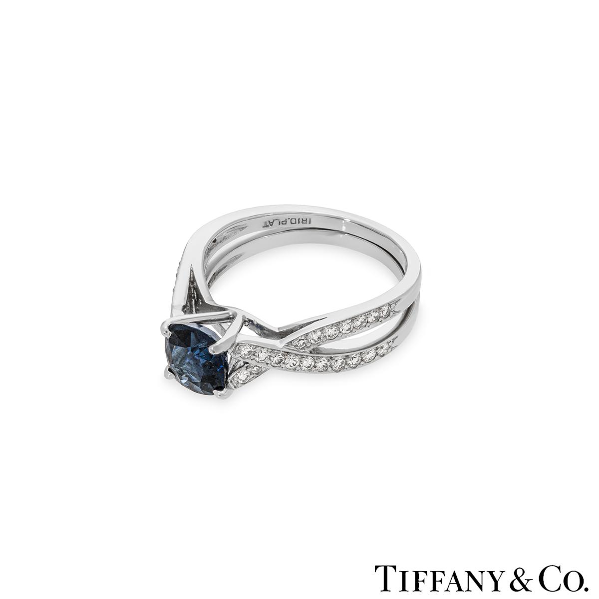 Tiffany & Co. Platinum Sapphire and Diamond Ring